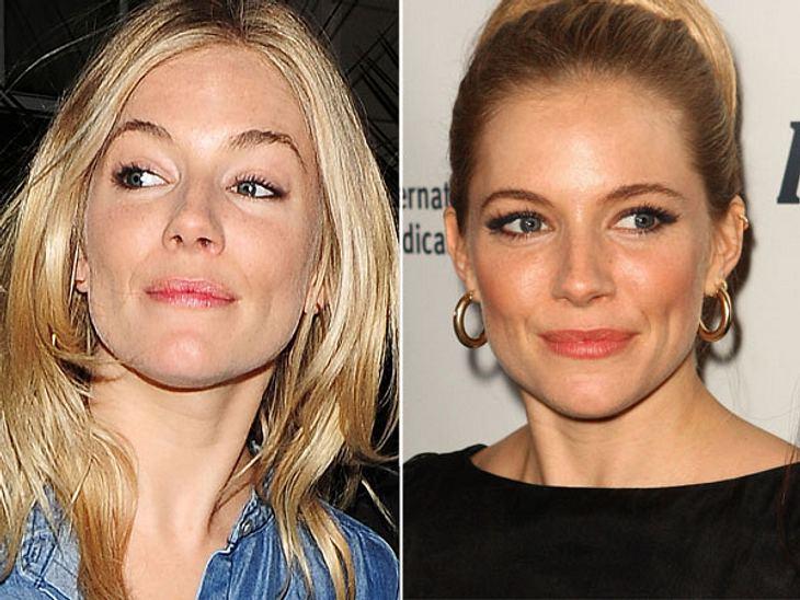 Star-Make-Up: Ein Unterschied wie Tag und NachtMit diesem Tages-Make-Up wird man Sienna Miller (30) wohl in Zukunft öfter sehen. Immerhin hat sie gerade eine kleine Tochter entbunden und bestimmt weniger Zeit für den abendlichen Glamour-Auf