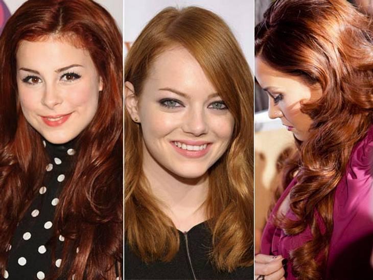 Trendstyle: Rote HaareRot, rot, rot sind alle Promi-Köpfe: Nein, den Stars ist nicht die Schamesröte ins Gesicht gestiegen, weil sie wieder peinliche Schlagzeilen an den Start gefahren haben - wir sprechen von roten Haaren.Es gab ja schon v