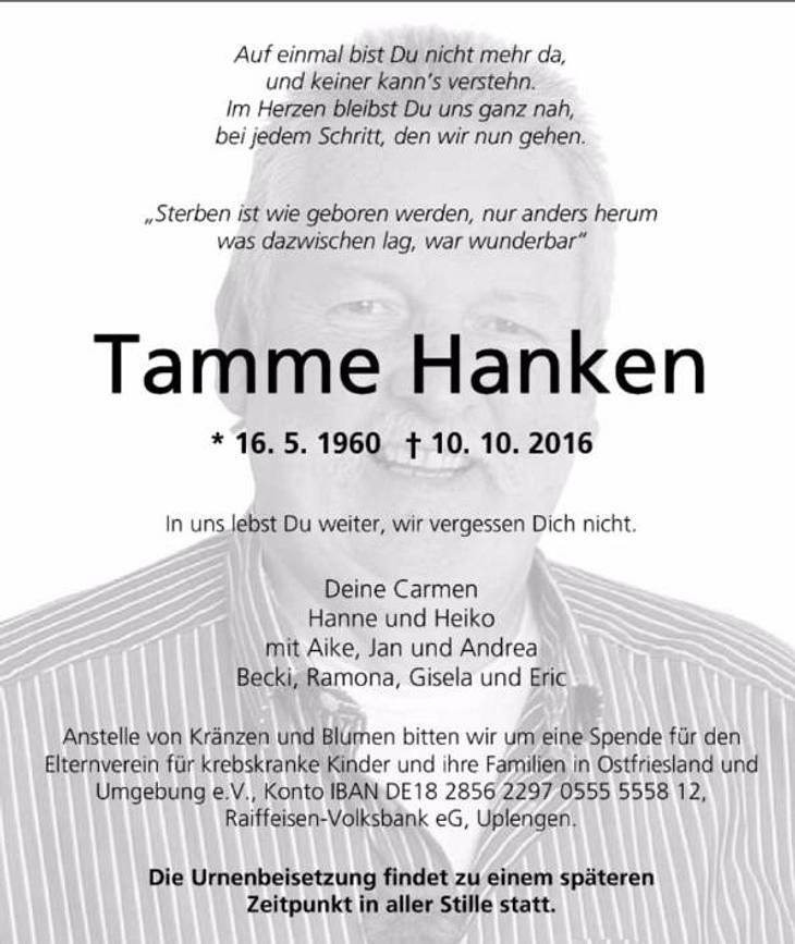 Tamme Hanken starb an plötzlichem Herzversagen