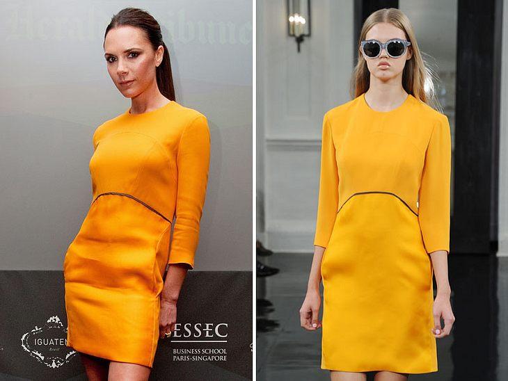 Victoria BeckhamVictoria Beckham trägt ihr eigenes Design. Daneben: Das selbe Kleid auf einer Victoria Beckham-Fashion-Show.