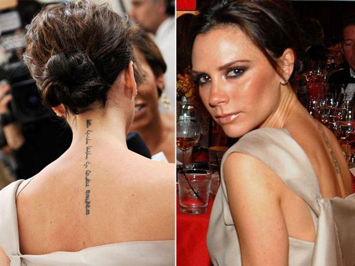 """Die Liebes-Tattoos der StarsEs gibt aber durchaus Liebes-Tattoos, die für eine Liebe stehen, die tatsächlich noch existiert. Wie das von Victoria Beckham (38). Der hebräische Schriftzug bedeutet: """"Ich gehöre meinem Geliebten und mein G"""