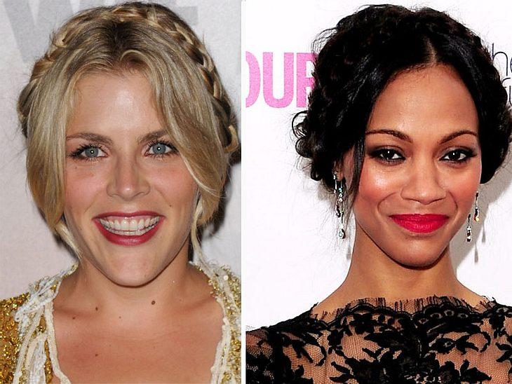 ,Jetzt knallt's! Die Beauty-Trends der StarsDie Milchmädchen-Frisur ist richtig kombiniert, gar nicht so niedlich. Mit einem sexy Kleid und roten Lippen sieht diese Haar-Kreation richtig heiß aus, so wie bei  Zoe Saldana und Busy Philipps.